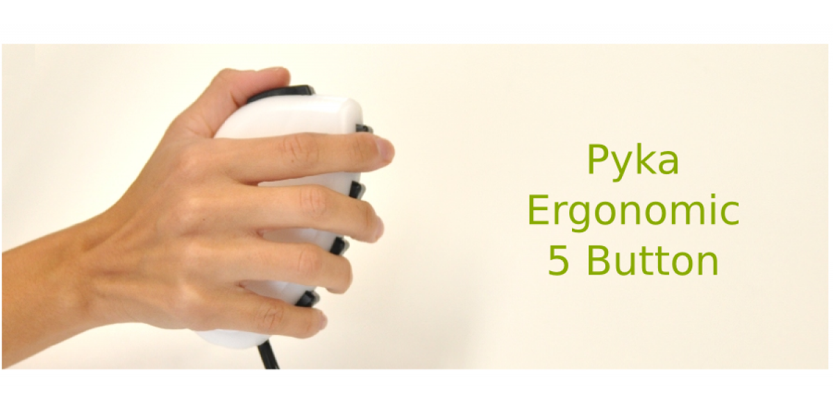 The newest addition: Pyka five button response pad which rests comfortably in either hand.